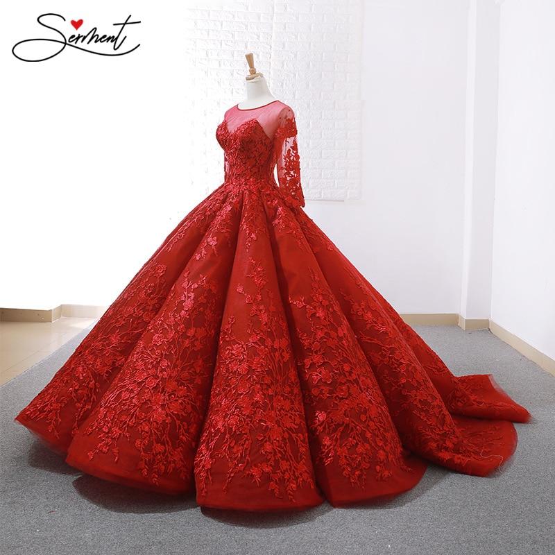 SERMENT Luxury Red Wedding Dress 2019 New Spring And Summer Bride Wedding Toast Clothing Slim Sleeves Backless Dinner