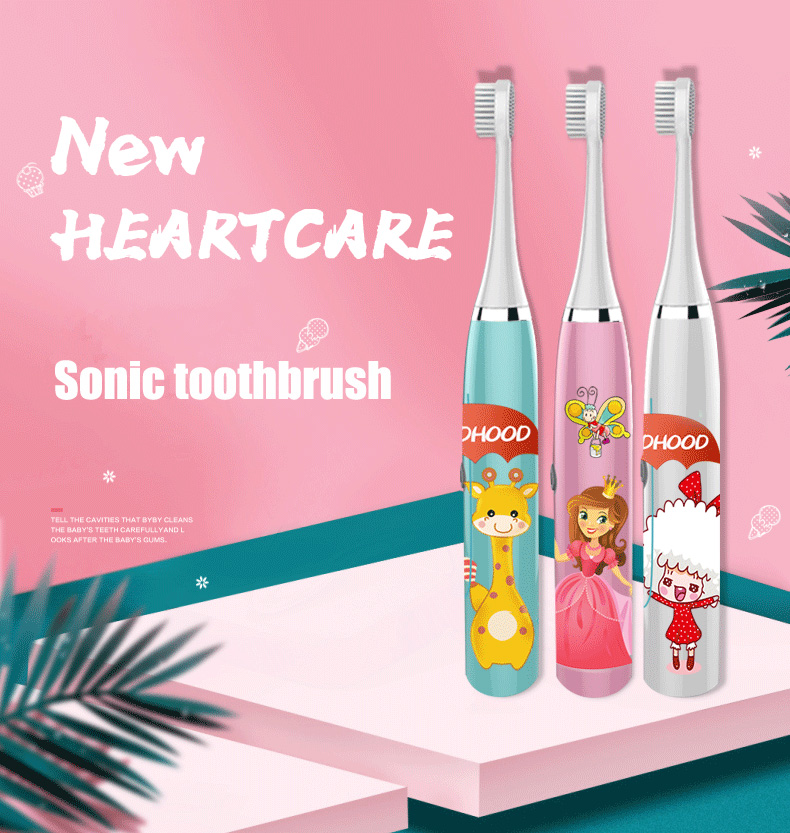 Baby Brush Electric With Cartoon Pattern 2 years Up Waterproof Oral Cleaning Sonic Toothbrush for Children Free Replacement Head image