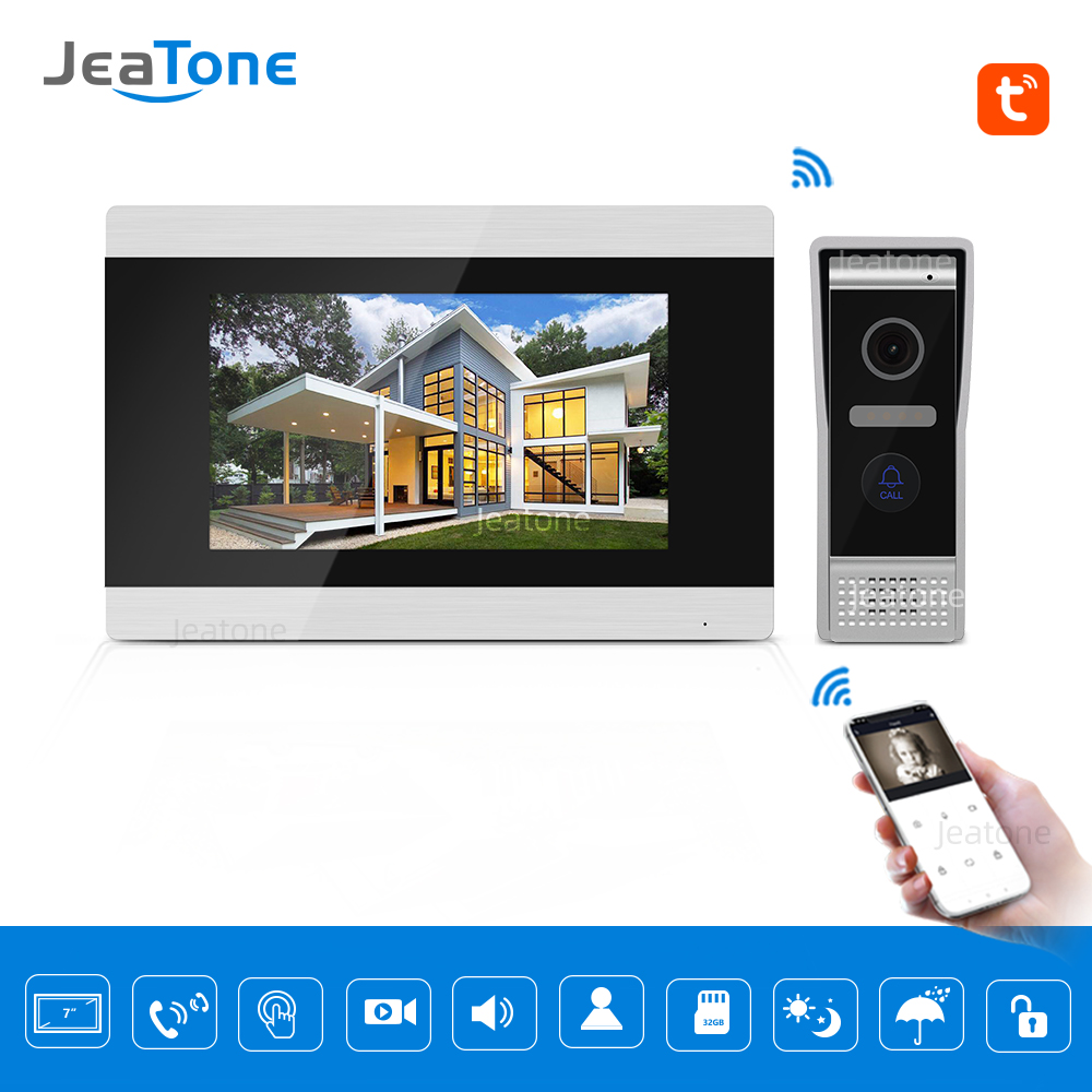 TuyaSmart App Supported WiFi IP Video Door Phone Video Intercom Home Access Control System Motion Detection 7 Inch Touch Screen