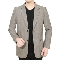Men Business Casual Blazers Khkai Gray Essential Jacket Suit Male Slim Fit Elegant Pinstripe Lattice Pattern Blazer Outfits Man