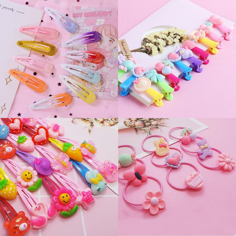 12Pcs Headwear For Women Girls Kids Cartoon Children Hair Ring Hair Clip Colorful Pink Stars Rubber Ring Hair Accessory