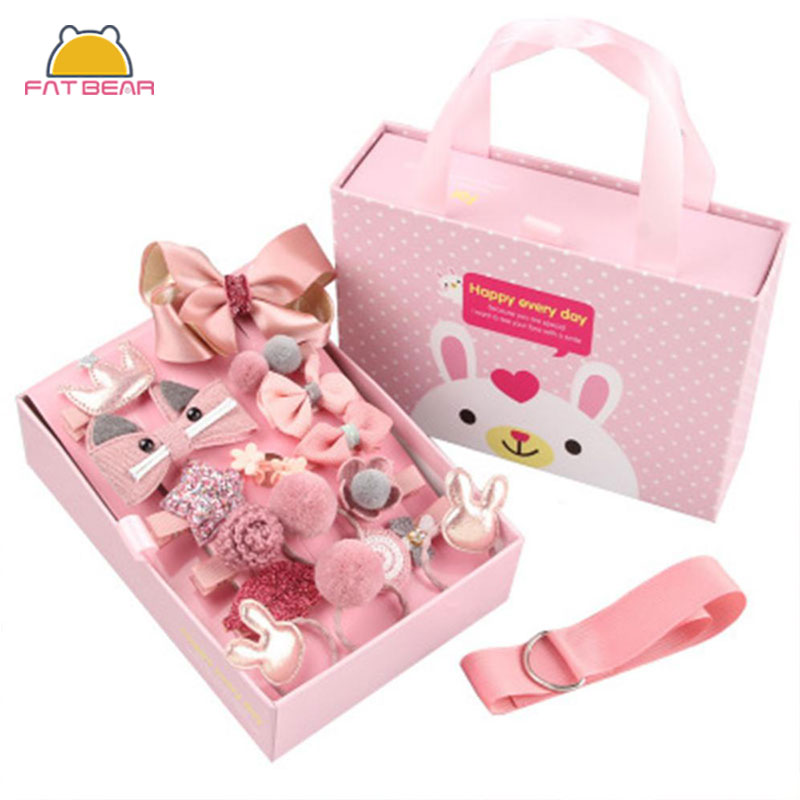 Hot Mix 15Pcs/box Baby Hair Clips Cartoon Flower Giltter Rabbit Princess Crown Ribbon Bow Hairpins For Girls Hair Accessories