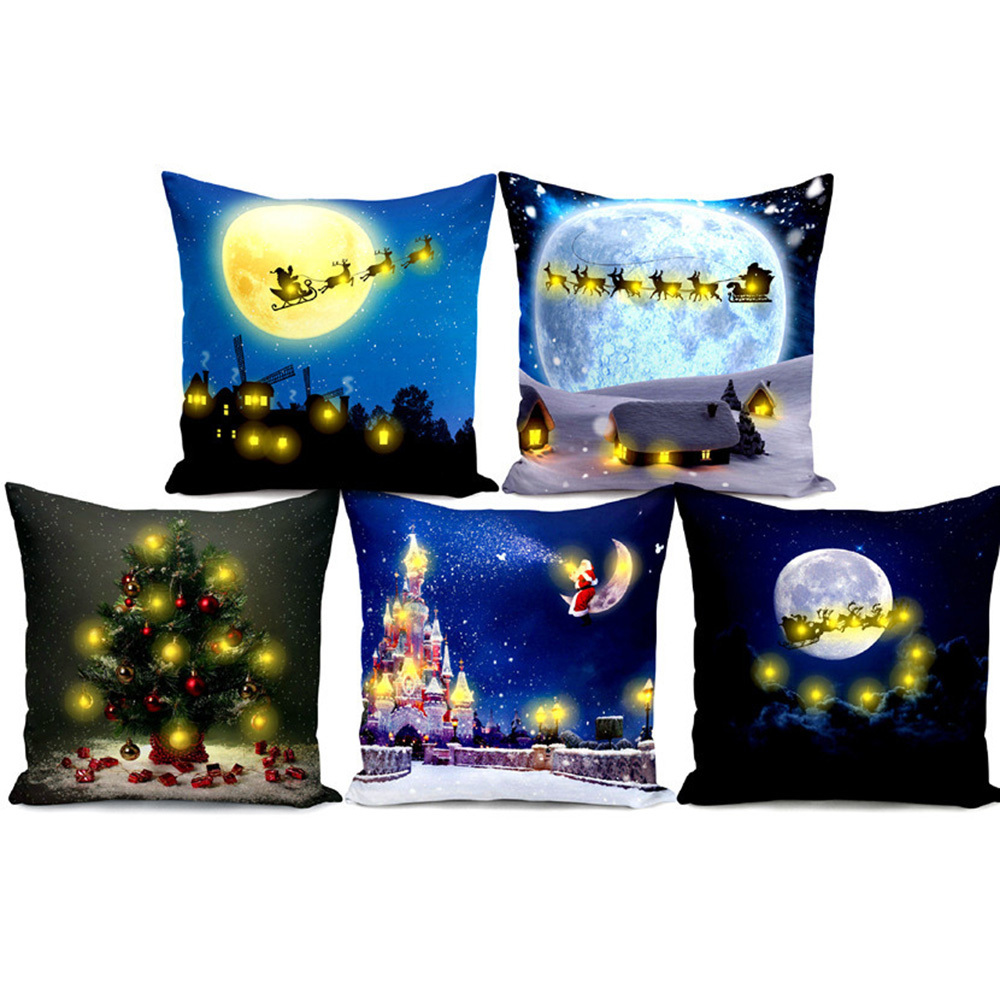 Christmas Pillow Cover Living Room Bedroom Pillow Case with LED Lights Christmas Decorations pillowcase