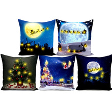 Christmas Pillow Cover Living Room Bedroom Case with LED Lights Pillowcase Home Supplies