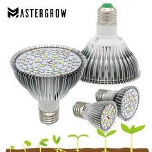 Полный спектр E27 светодиодный светильник 18/28/40/78/120 светодиоды красные, синие УФ ИК лампа для выращивания растений с питанием от источника для комнатных растений гидропоники цветы овощи