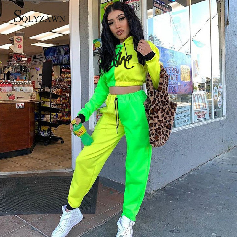 Fluorescent Yellow Green Tracksuits Long Sleeves Hooded Crop Top Jogging Pants Suit Streetwear Outfit Winter Women Matching Set