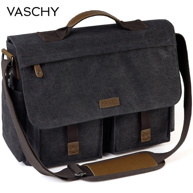 VASCHY askılı çanta erkekler için Vintage su dayanıklı mumlu tuval 15.6 inç dizüstü evrak çantası yastıklı omuzdan askili çanta erkekler kadınlar için