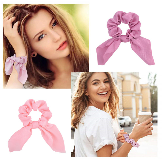New Chiffon Bowknot Elastic Hair Bands For Women Girls Solid Color Scrunchies Headband Hair Ties Ponytail Holder Hair Accessorie 6