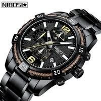 MasculinoTop NIBOSI New Mens Relógios Relogio Marca De Luxo Big Dial Relógio Dos Homens Do Esporte Da Forma Auto-Data de Quartzo Relógio À Prova D' Água homens