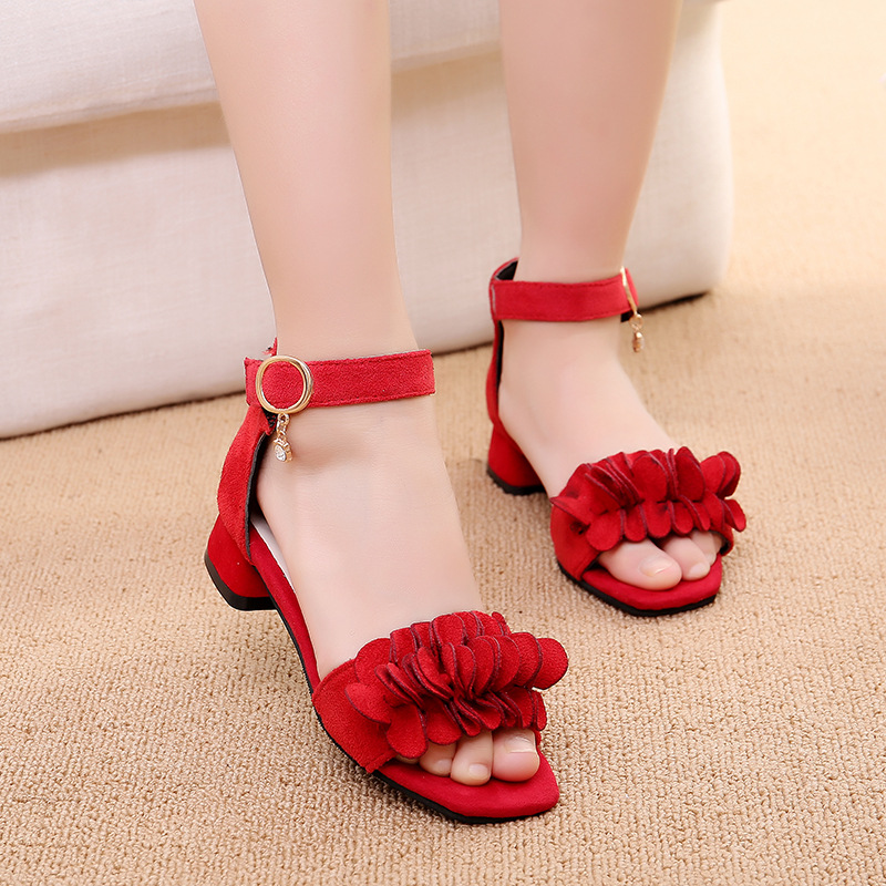 4-13 Years Fashion Flower Big Kids Girls Summer Shoe 2020 New Sandals Girl High Heel Beach Sandals For Child Princess Rome Shoe