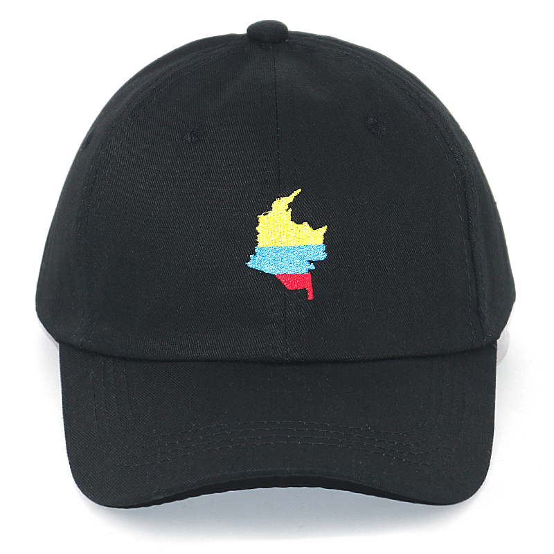 Colombia Map Embroidery Baseball Cap 100% Cotton Adjustable Black Snapback Hats Men Women Fashion Casual Curved Dad Hat
