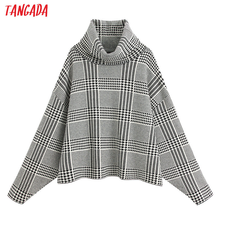 Tangada Women Plaid Pattern Turtleneck Sweater Oversized Bat Long Sleeve Vintage Ladies Elegant Loose Knitted Jumper Tops BE318