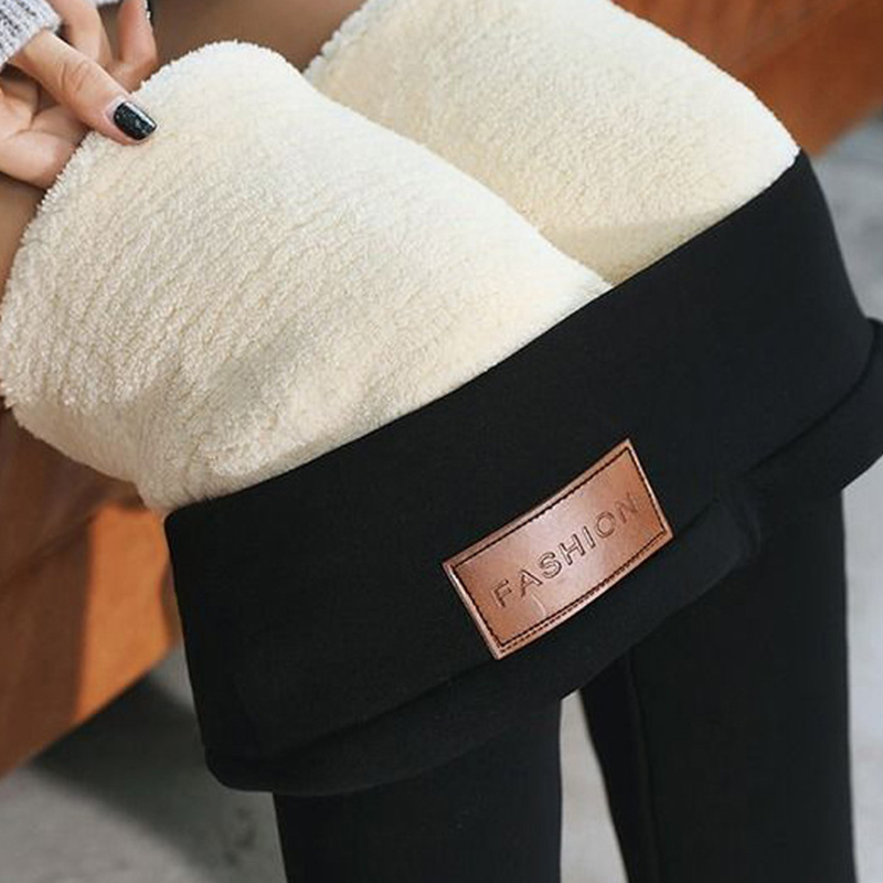 Warm Pants Winter Skinny Thick Velvet Wool Fleece Girls Leggings Women Trousers Lambskin Cashmere Pants For Women Leggings
