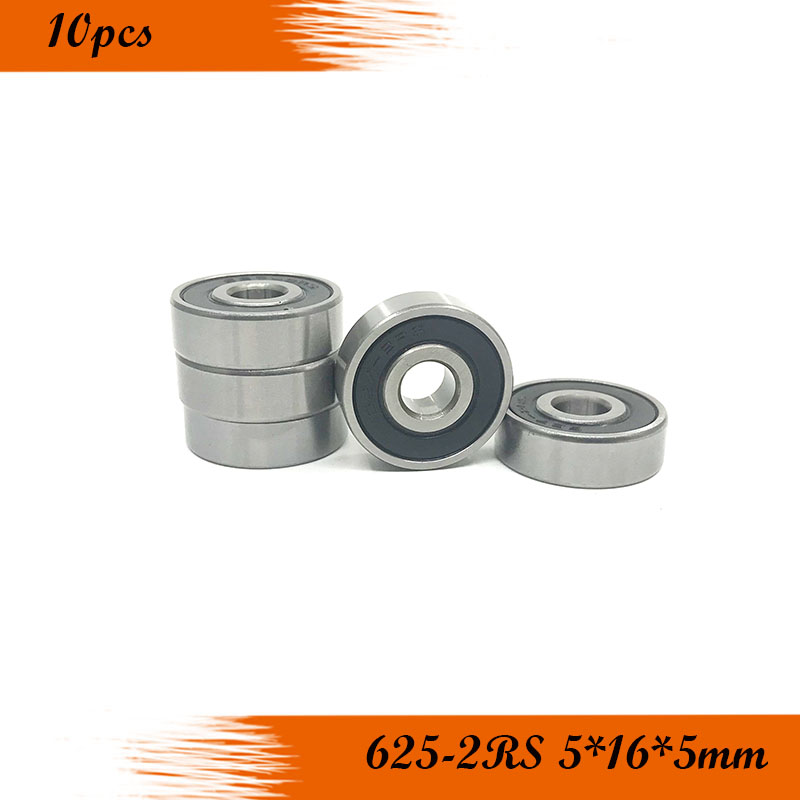 10pcs/Lot <font><b>625</b></font>-2RS <font><b>625</b></font> <font><b>RS</b></font> 5x16x5mm Rubber Sealed Ball <font><b>Bearing</b></font> Miniature carbon steel ball <font><b>Bearing</b></font> Brand New image