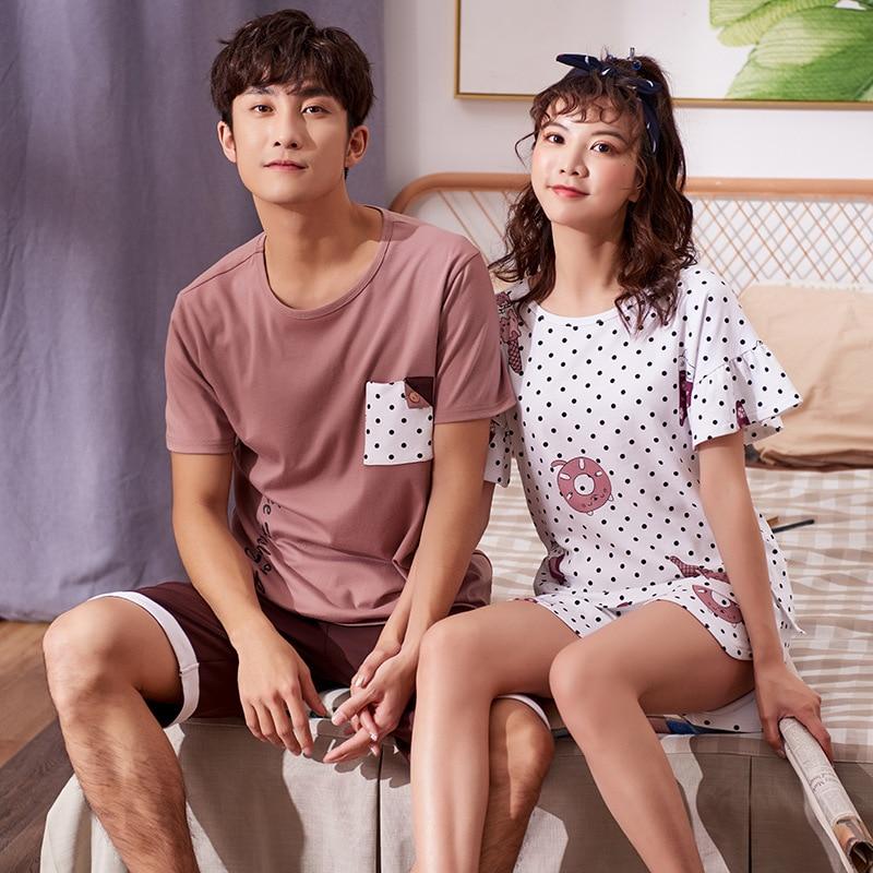 D5811 # Women's D7811 # Men's 2019 Short Sleeve Couples 6535 Fabric Casual Pajamas Homewear Set