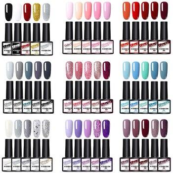 KOSKOE 4/5/6Pcs Nail Polish Gel Set Nails Hybrid Vernis Semi Permanent Lot Shiny Glitter Soak Off UV LED Kit