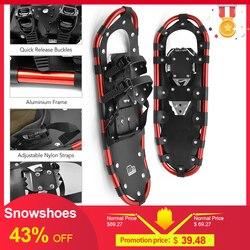Zapatillas de nieve al aire libre de aluminio ataduras ajustables esquí llevar bolso práctico Durable para Mujeres Hombres 25/27/29 pulgadas 3 colores