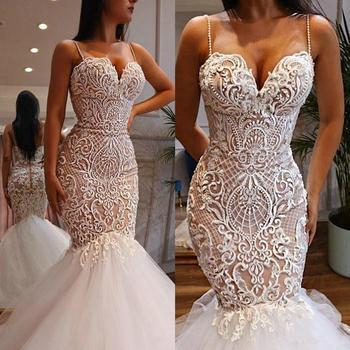 Sexy Mermaid Wedding Dresses With Spaghetti Straps Beads 3D Lace Appliques Bridal Dress Zipper Back Plus Size vestido de novia - discount item  19% OFF Wedding Dresses