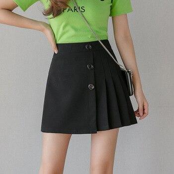 Classic Black Pleated Chiffon Skirt Women Solid High Waist Slim Mini Skirts Summer Irregular Sexy Girls Jupe Saias