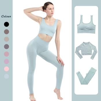 Seamless Leggings Women Gym Clothing Female High Waist Yoga Pants Tracksuit Women Fitness Clothing 2 Piece Set Long Sleeve Top 1