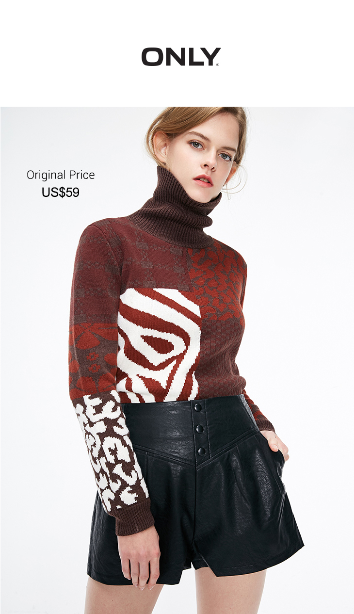 ONLY Retro Loose High-necked Stitching Color Winter Women Sweater | 119113527 6