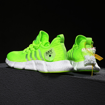 Running shoes men s lightweight casual mesh breathable fluorescent green comfortable jogging summer large size