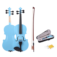Handmade 1/8 Size Acoustic Violin Gloss 4 Color Fiddle with Case Bow Rosin Musical Instrument For Beginner Music Lover training