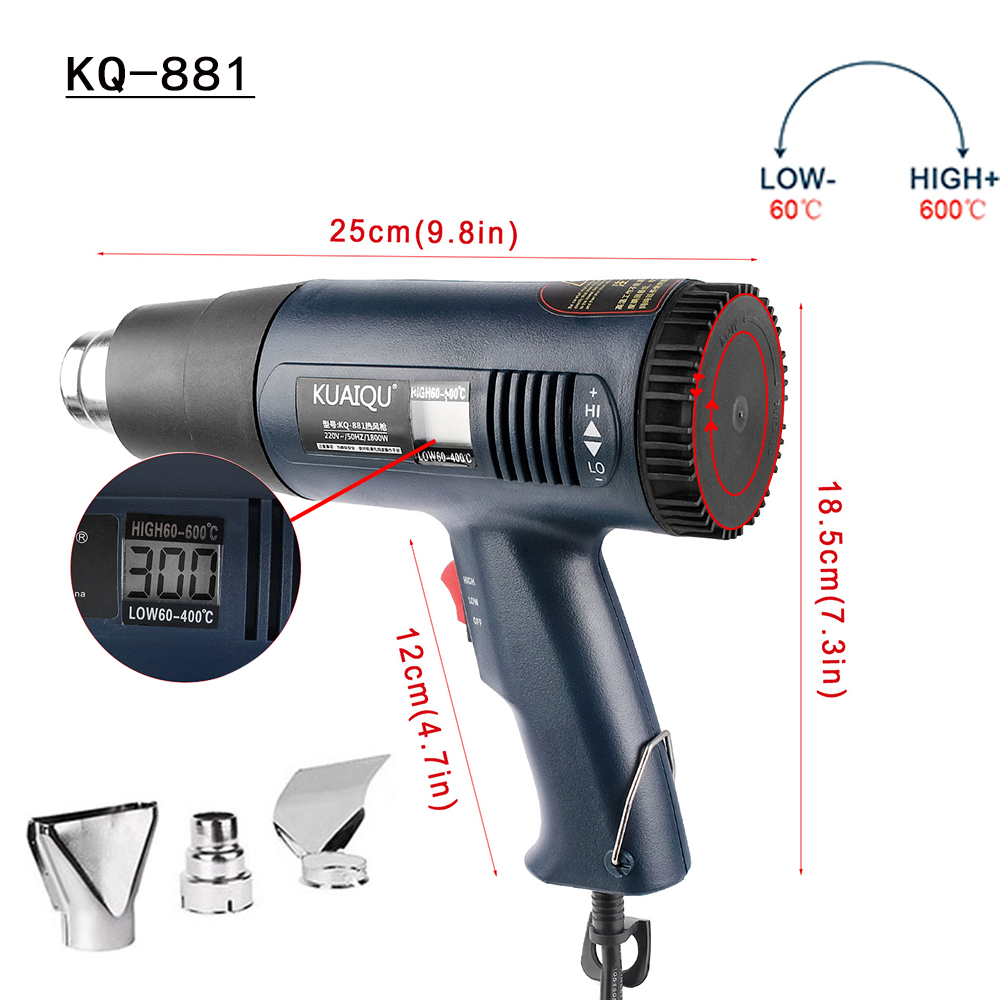 Hot Air Gun 220V 1800W Rear Digital Display Two Gears Adjustable Temperature Heat Gun Clothes Dryer Soldering Operating 60~600℃
