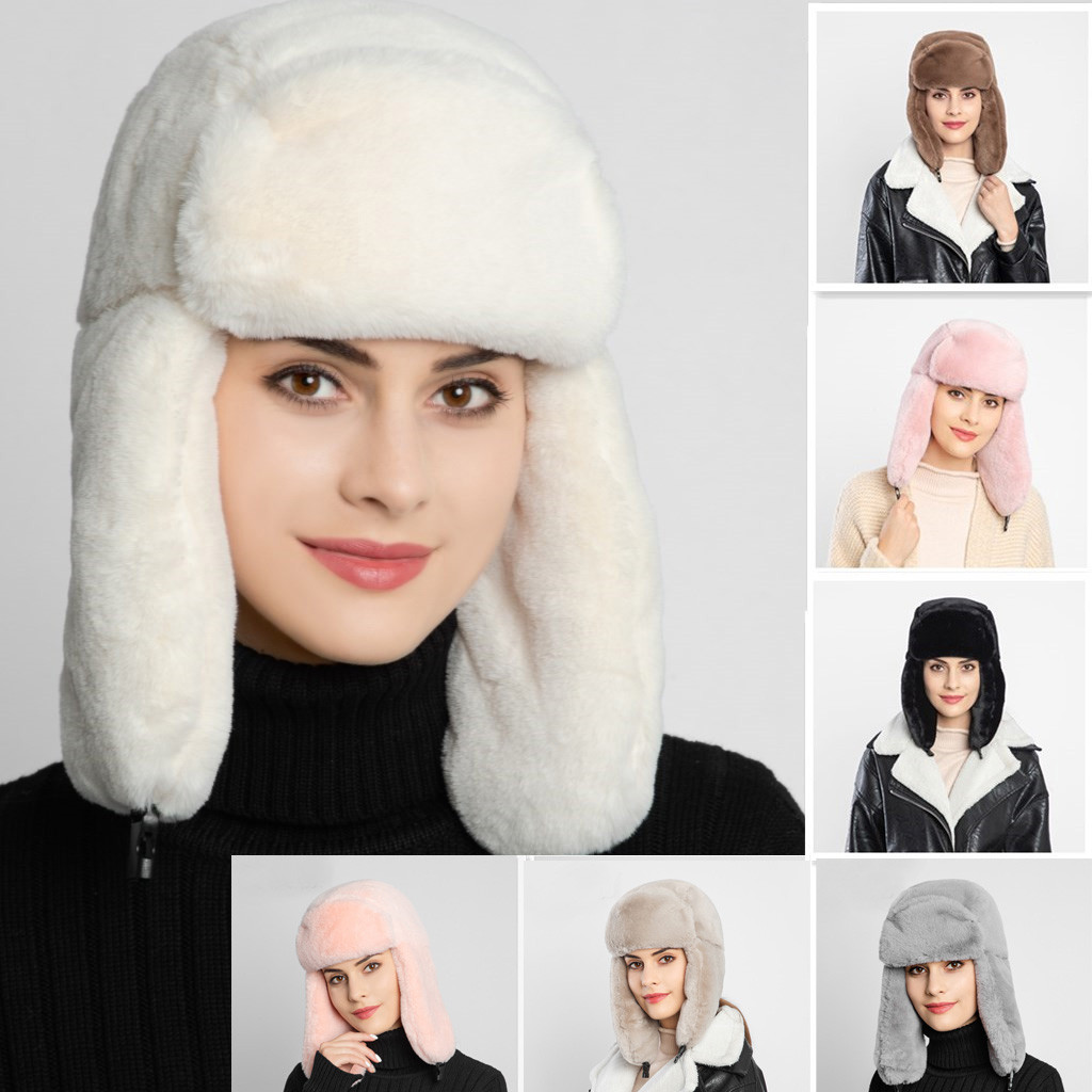 Hat Plush-Hat Winter Fake New Warm Beanies Ear-Protectors Skulls Thick High-Quality Ladies