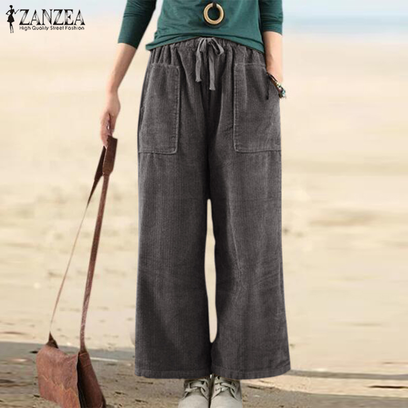 ZANZEA Women's Wide Leg Pants Spring Corduroy Trousers Elastic Waist Cropped Pantalon Female Casual Palazzo Plus Size Turnip