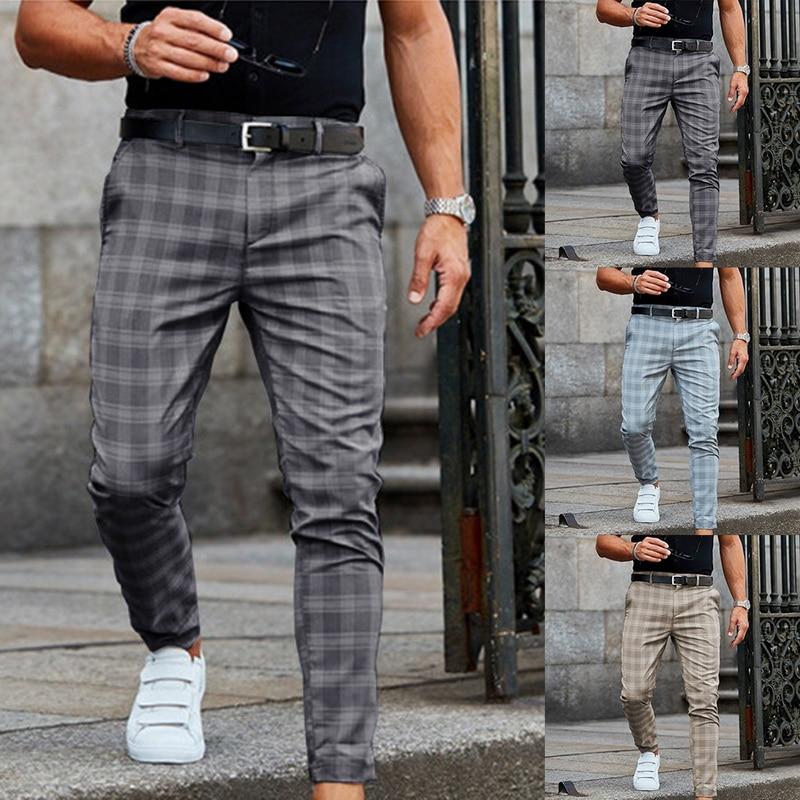 Новинка 2021, мужские брюки, повседневные мужские брюки, облегающие Стрейчевые мужские брюки, облегающие мужские повседневные брюки в клетку,...
