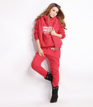 YICIYA 2 piece of women  In the new winter, wear casual sweatshirts, hoods and sweat pink suits.