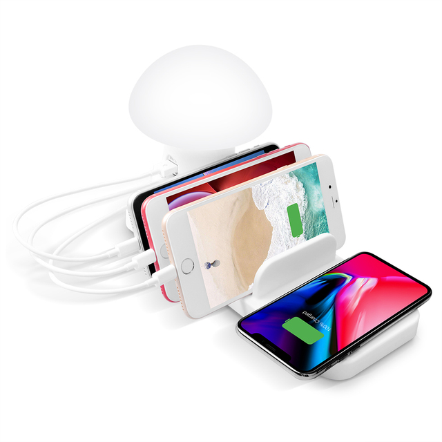 10w Wireless charger With light charging station holder QC3.0 USB phone accessories for apple samsung huawei xiaomi oneplus 2