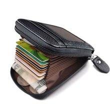2020 Newest Hot Men's Leather Wallet Credit Card Holder RFID Blocking Zipper Thin Pocket