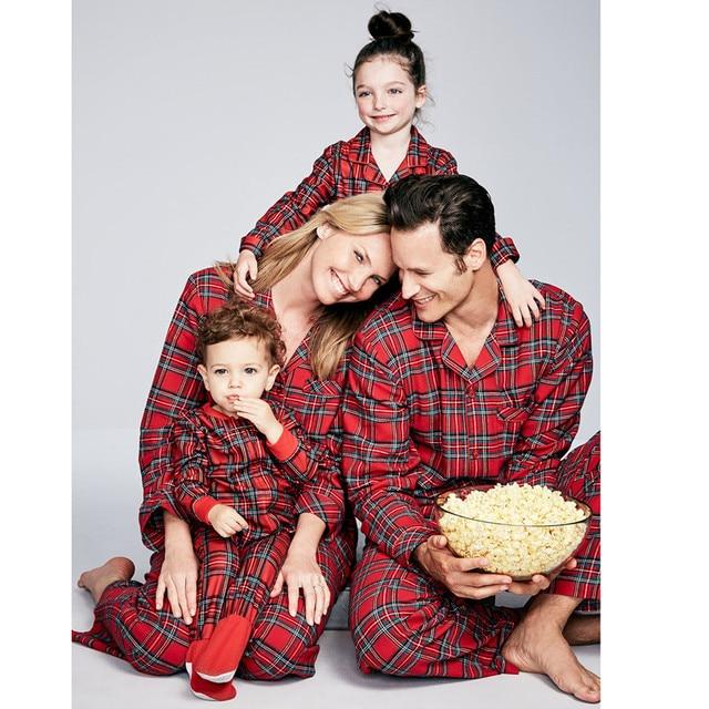 Christmas Pajamas Set Family Matching Outfits Adult Kids  Baby Sleepwear Nightwear Red Plaid New Year Christmas Pajamas