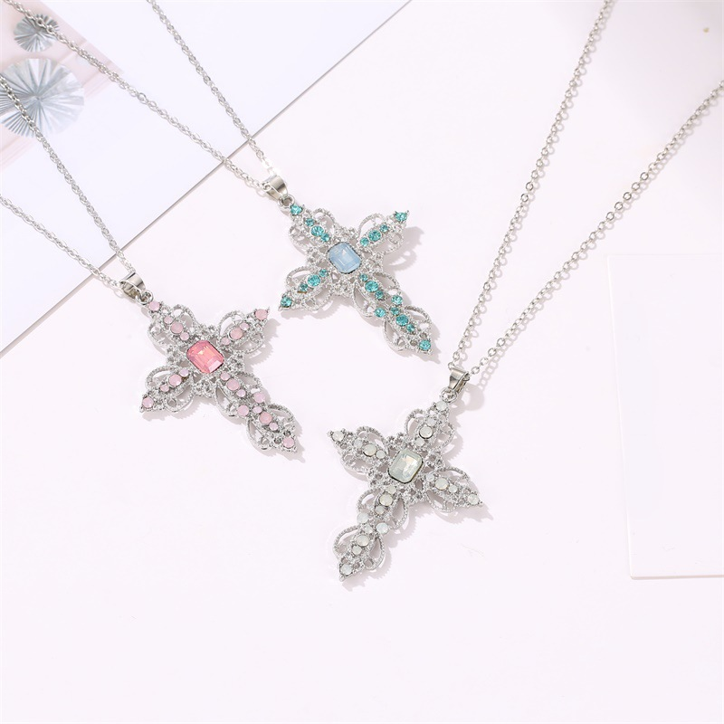 Fashion Classic Hot Cross Necklace Bohemian Hollow Rhinestone Necklace Accessories <font><b>Couple</b></font> <font><b>Jewelry</b></font> Gift image