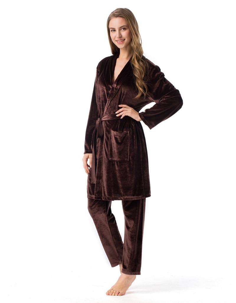 LISN 2019 men and women couples suit velvet pajamas lace V-neck two-piece gold robe home service set