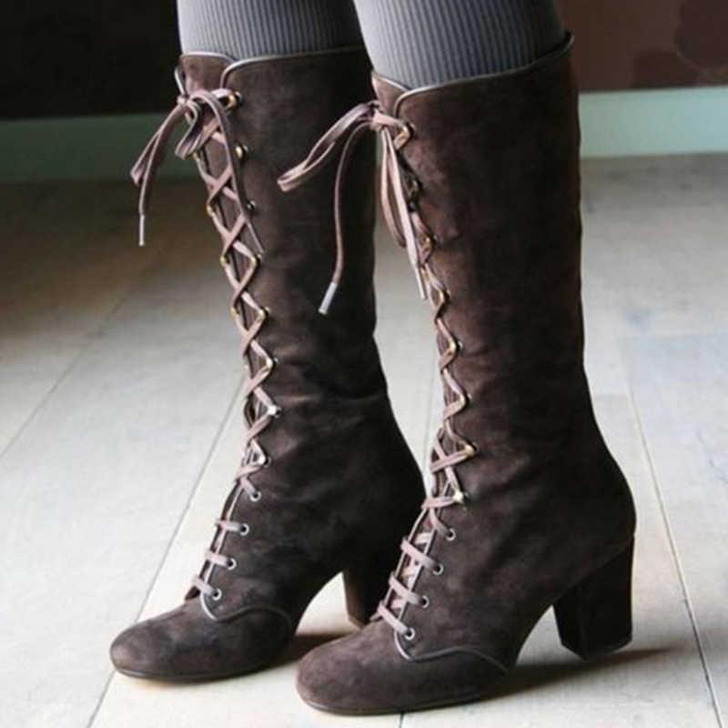 Yeni kadın platformu uyluk yüksek çizmeler bayanlar Lace Up kare yüksek topuk orta buzağı çizmeler kadın akın binmek uzun çizmeler artı boyutu ayakkabı