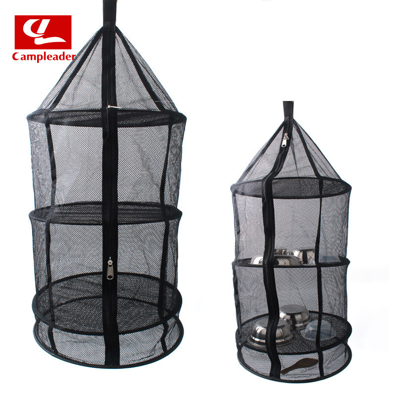 South Korea Outdoor Foldable Circle Hanging Network Tableware & Vegetable Fruit Dried Mesh Basket Four Layer Storage Basket Dryi