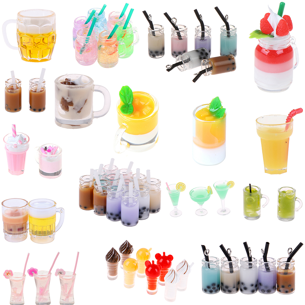 Mini Lemon Milk Fruit Tea Water Cup Strawberry Banana Milkshake Ice Cream Miniature Dollhouse Accessories Cups Kitchen Toys