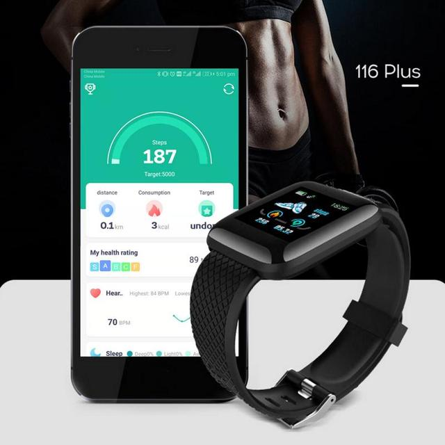 116 Plus Smart Watch Wristband Sports Fitness Blood Pressure Heart Rate Call Message Reminder Android Pedometer Smart Watch 2