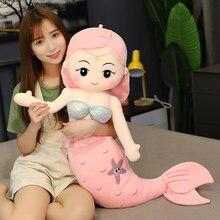 Grande sereia bonecas enchido de algodão pelúcia brinquedo para meninas princesa pano bonecas de pelúcia sereia travesseiro abraçando almofada crianças presente
