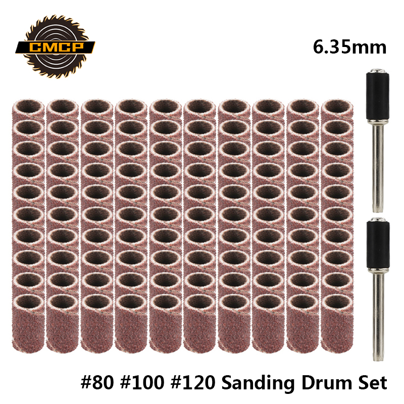 CMCP #80 #100 #120 Sanding Bands For Nail Drills 6.35mm Grinding Sanding Discs For Dremel Abrasive Tools Sanding Drum Set