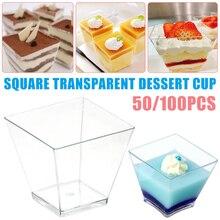 Лидер продаж 50/100 шт. квадратный десертные чашки мини Пластик 2 унции прозрачные вечерние Свадебный декор Прозрачные Чашки Десерт LSK99