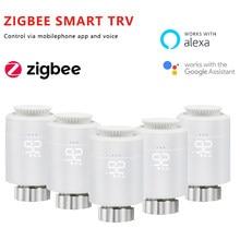 Tuya inteligente zigbee radiador atuador trv programável termostática válvula do radiador controlador de temperatura apoio alexa