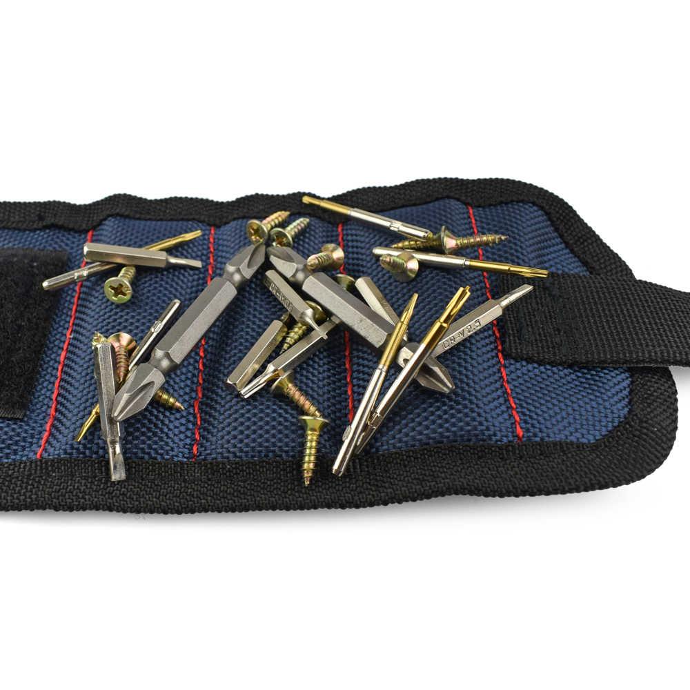 Магнитный браслет NEWACALOX, Портативная сумка для инструментов из полиэстера, инструмент для крепления на запястье, винты для гвоздей, сверла, инструменты для ремонта
