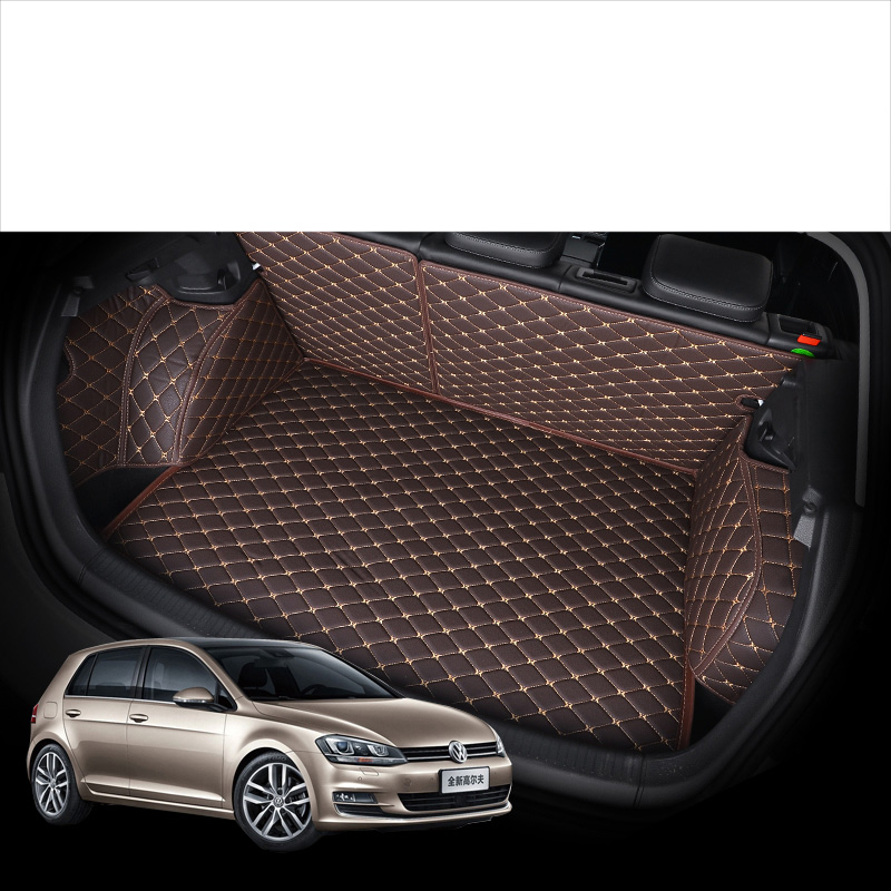 Lsrtw2017 Leather Car Trunk Mat Cargo Liner for Volkswagen Golf Mk7 2012 2013 2014 2015 2016 2017 2018 2019 gti vw accessories title=