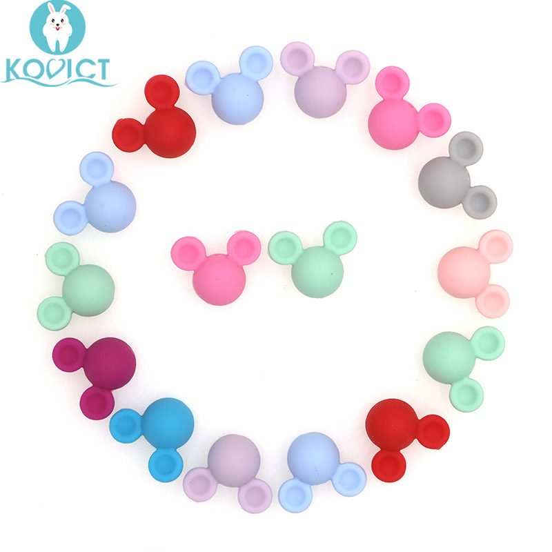 Kovict 30pcs Mickey Baby Teething Beads Food Grade Cartoon Mouse Shape Beads For Necklaces BPA Free Baby Teether Toy Nursing