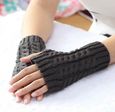 Knitted Fingerless  Gloves Men And Women Winter Warm Half-finger Short Knitted Wool Solid Color Mittens