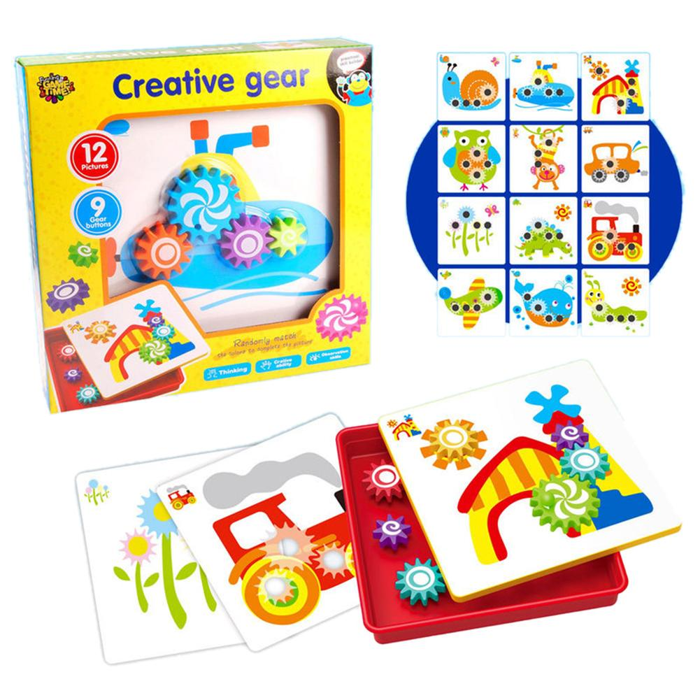 Children 3D Puzzle Toy Buttons Mushroom Mosaic Pegboard DIY Puzzles Building Bricks Pegging Board Baby Early Educational Toys